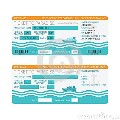 Free Sea Cruise Ship Boarding Pass Or Ticket Template Stock Photo - 48592260