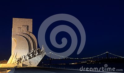 Sea-Discoveries monument in Lisbon at night Editorial Stock Image