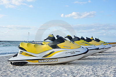 Sea-Doo Personal Water Craft on Tropical Beach Editorial Image