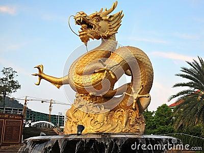 Sea Dragon Statue Editorial Photo