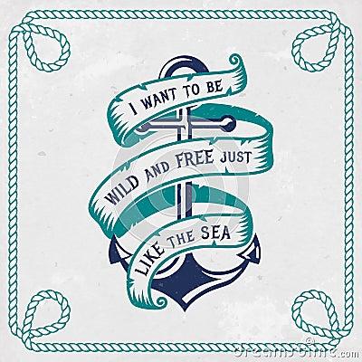 Free Sea Emblem With Anchor And Ribbon. Vector Illustration. Stock Photos - 119480823
