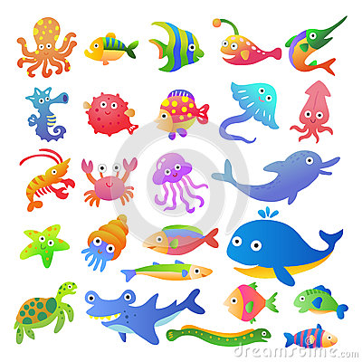 Sea fishes and animals collection