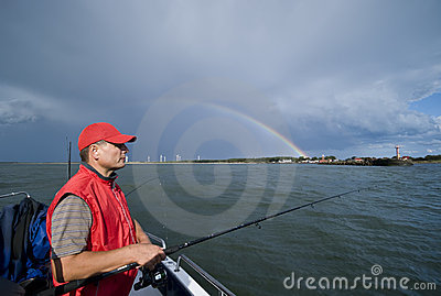 Sea fishing and lucky rainbow