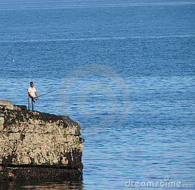 Sea fishing on rocks