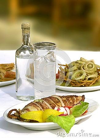 Sea food with ouzo