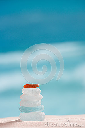 Sea glass seaglass with ocean , beach and seascape