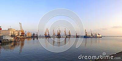 Sea harbor morning panorama.