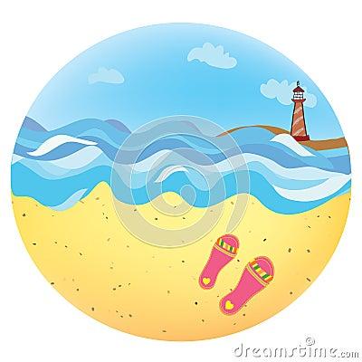 Sea holidays icon funny