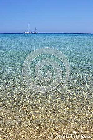 Sea horizon with boats