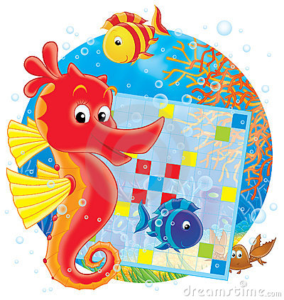 Free Sea Horse And Crossword Stock Image - 3009901
