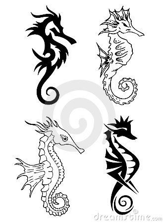 Sea horse tattoo design