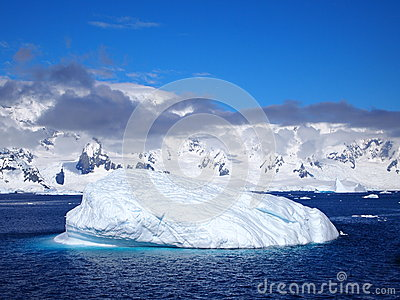 Sea and Ice near mountains off western antarctic peninsula