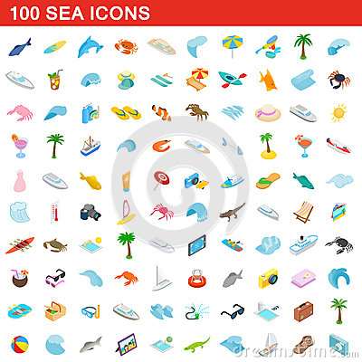 100 sea icons set, isometric 3d style Vector Illustration