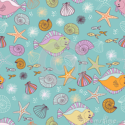 Sea inhabitantes seamless pattern