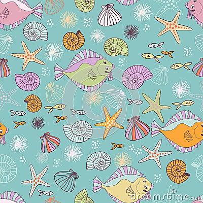 Sea inhabitantes seamless pattern