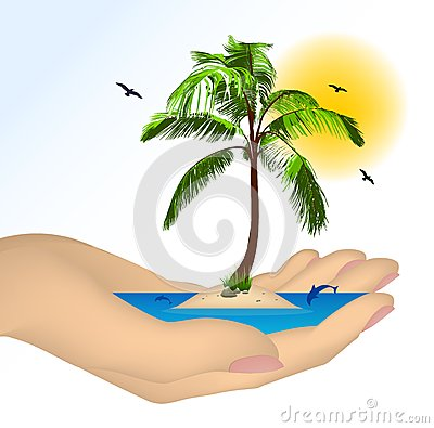 Sea island with palm in a female hand. Vector