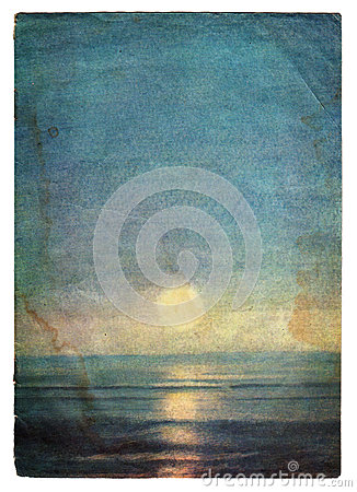 Free Sea Landscape Grunge Paper Cover With Age Marks Royalty Free Stock Images - 26794779