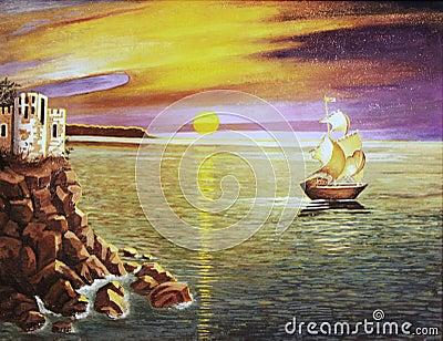 Sea landscape, oil painting.
