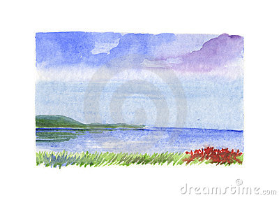 Sea landscape with red flowers - watercolour