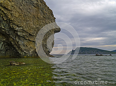 Sea landscape with a rock