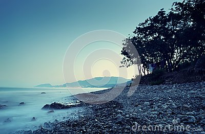 Sea landscape in the summer evening