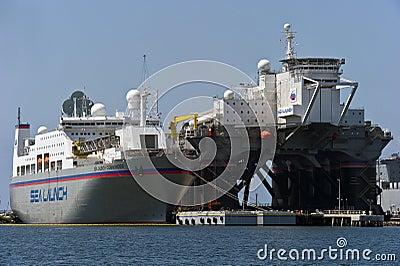 Sea Launch vessels prepare for rocket launch Editorial Photo