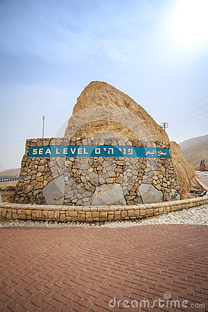 Free Sea Level Sign Approaching Dead Sea, Israel Stock Photography - 72383902