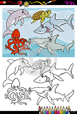 Sea life animals cartoon coloring book
