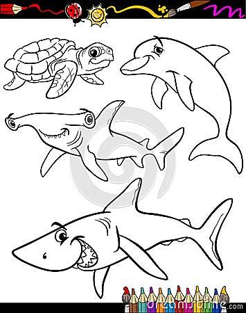 Sea Life Coloring Pages Sea Life Animals Cartoon Coloring Book Stock Vector