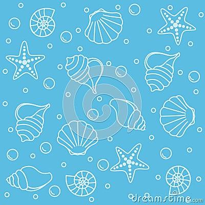 Sea life seamless pattern