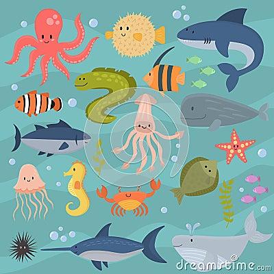 Free Sea Life Underwater Cartoon Animals Cute Marine Characters Fish Aquarium Tropical Aquatic Vector Illustration. Royalty Free Stock Image - 92273616
