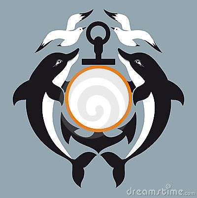 Sea logo. Anchor. Dolphin. Seagull