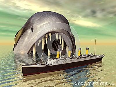 Sea Monster with Ocean Liner