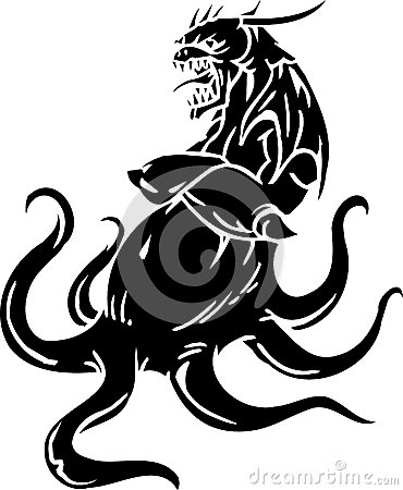 Sea Monster - vector illustration. Vinyl-ready.