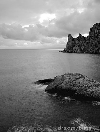 The sea and mountains monochrome