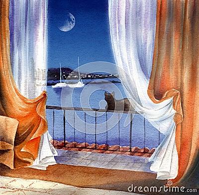 Free Sea Night Royalty Free Stock Image - 1378176