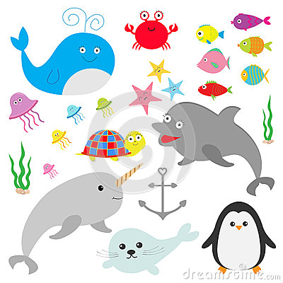 Free Sea Ocean Animal Fauna Set. Fish, Whale,dolphin, Turtle, Star, Crab, Jellyfish, Anchor, Seaweed, Waves Cute Cartoon Character  Stock Photography - 70778402