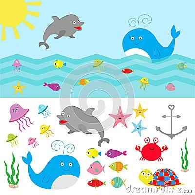 Free Sea Ocean Animal Fauna Set. Fish, Whale,dolphin, Turtle, Star, Crab, Jellyfish, Anchor, Seaweed, Waves Cute Cartoon Character Coll Royalty Free Stock Photos - 67251738