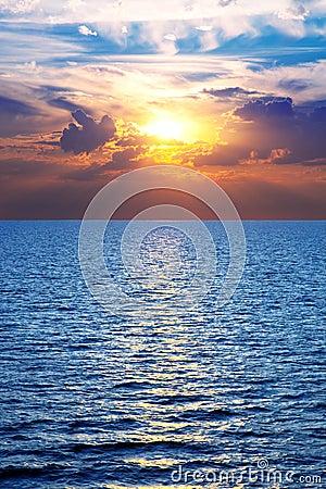 Sea, ocean at colorful sunset