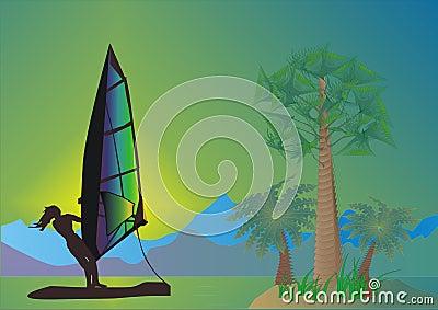 Sea, palms and windsurfer