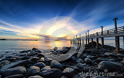 Sea pier sunrise photography