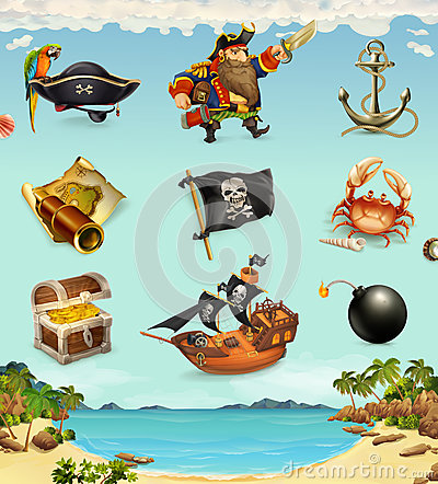 Free Sea Pirates, Funny Character And Objects Stock Photography - 76234332