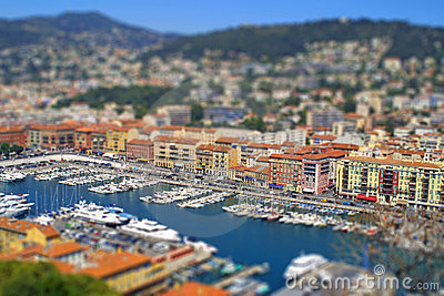 Sea port of Nice city, France. Tilt-shift effect