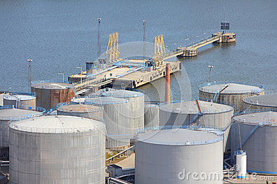 Sea port oil tanks
