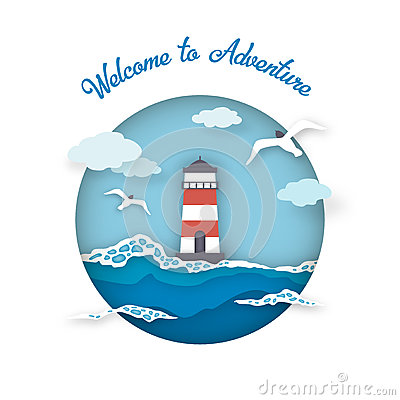 Free Sea Postcard Welcome To Adventure Style Paper Art. Royalty Free Stock Photography - 93731337