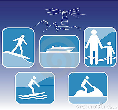 Sea resort icon set.