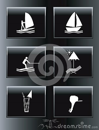 Sea resort icons set.