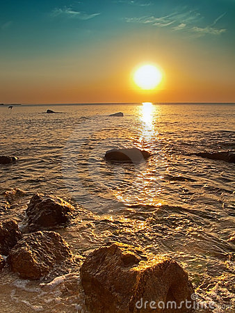 Sea and rocks at sunrise