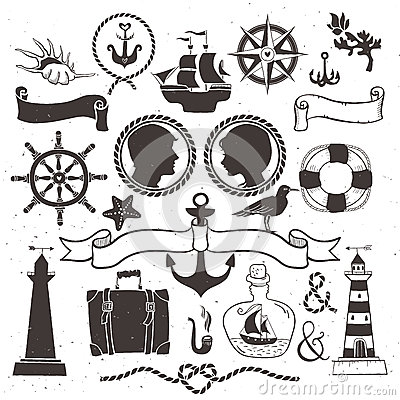Free Sea Romantic Travel. Vintage Hand Drawn Elements In Nautical Royalty Free Stock Image - 45428506