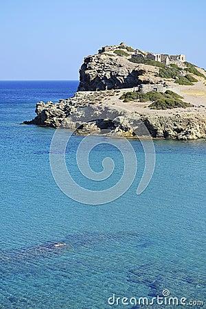 Sea and ruins in Crete, Greece